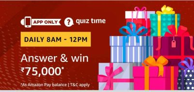 (Answer Added) Amazon Quiz Time Daily - Today Amazon Quiz Answers & Win Amazon Pay Balance Of Rs.75000