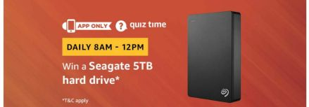 (Answer Added) Amazon Quiz Time Daily - Today Amazon Quiz Answers (1 April) & Win a Seagate 5TB hard drive