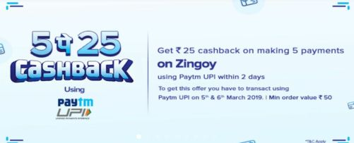 Get Rs.25 Cashback of Making 5 Payments on Zingoy