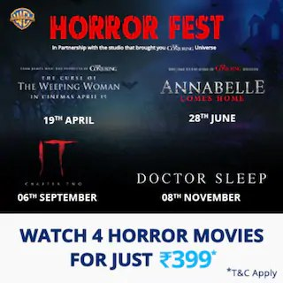 Paytm Movie offer - Watch 4 Horror Movies For Just Rs.399