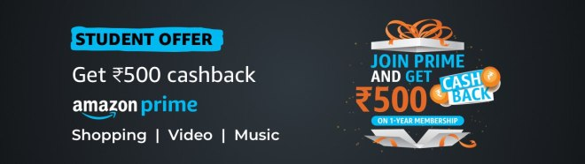 Amazon Prime Offer For Students - Get Rs.500 Cashback on Amazon Prime Membership