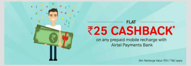 Airtel Offer - Get Rs.25 Cashback on Rs.35 & more Recharge