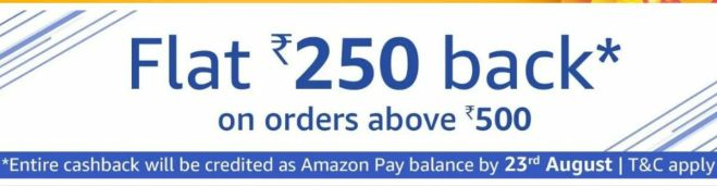 Amazon Prime Now - Flat Rs.250 Cashback on Order above Rs.500