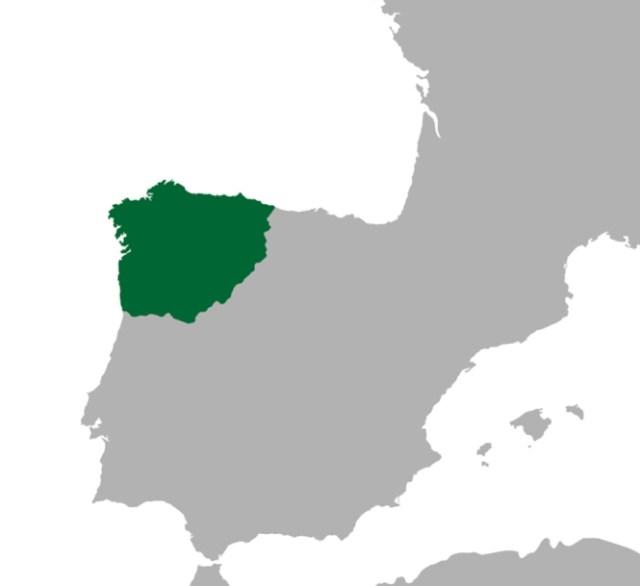 A Galécia romana. A nossa língua terá nascido no triângulo que corresponde, de forma muito pouco rigorosa, à metade noroeste do território a verde.