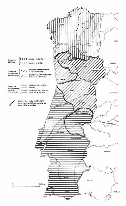 Mapa incluído na Nova Gramática do Português Contemporâneo.