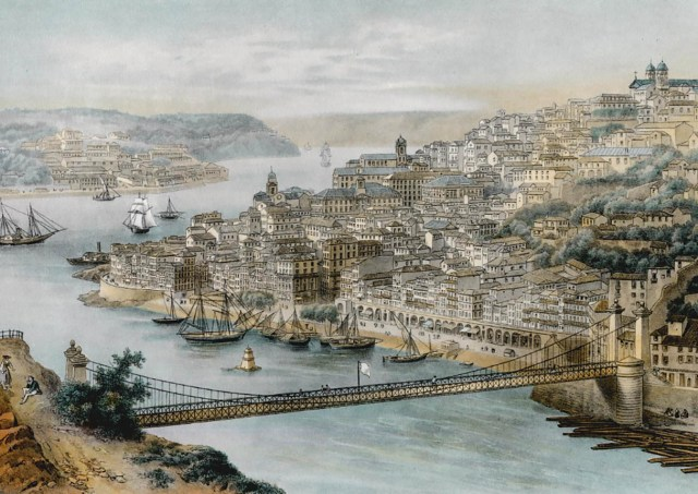 a ponte Pênsil D. Maria II