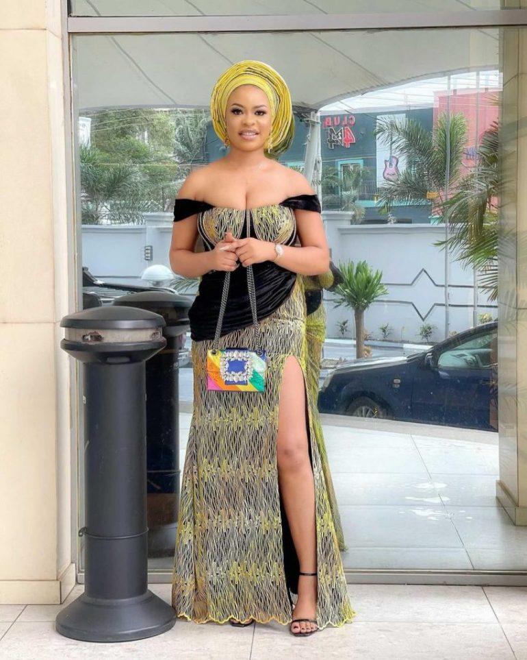 asoebi style lace dress offshoulder