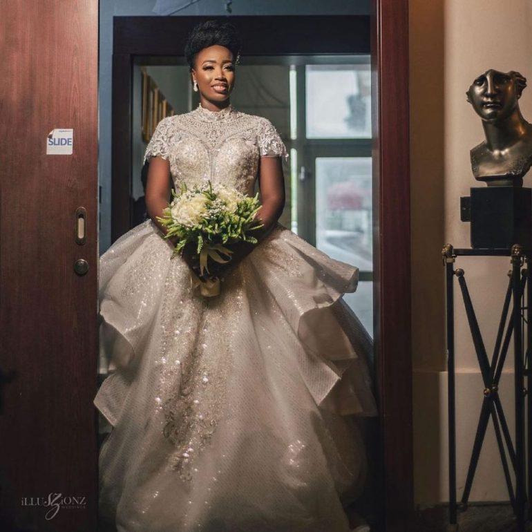 short sleeve wedding dress with lace overlay