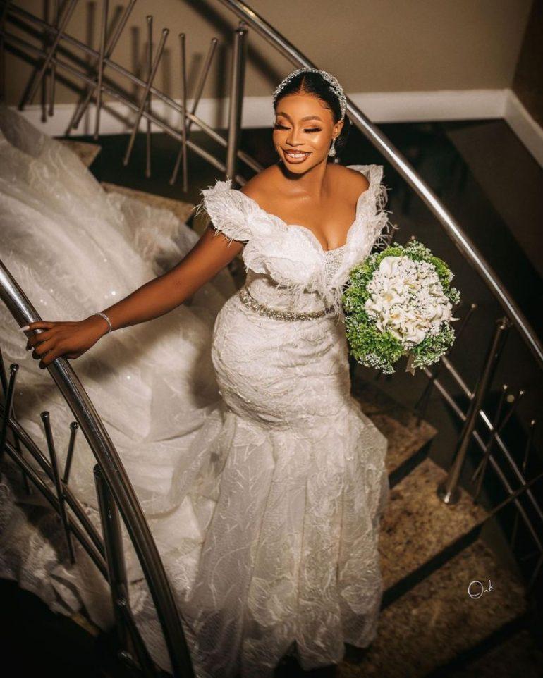 beautiful off shoulder wedding dress brides space