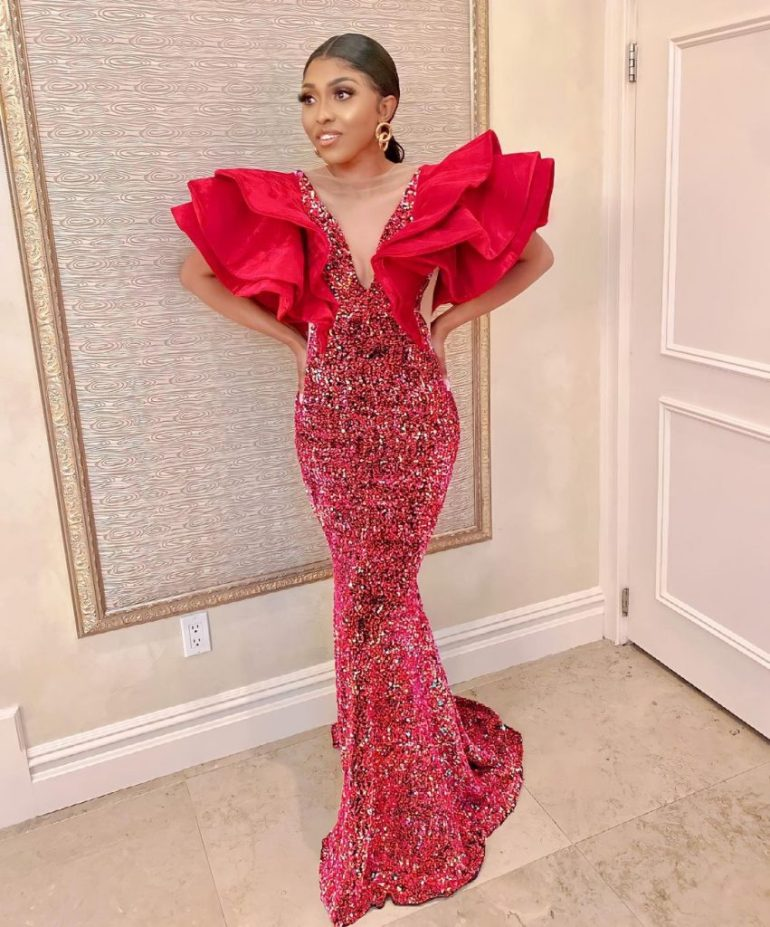 asoebi styles sequinned dress with drama sleeves