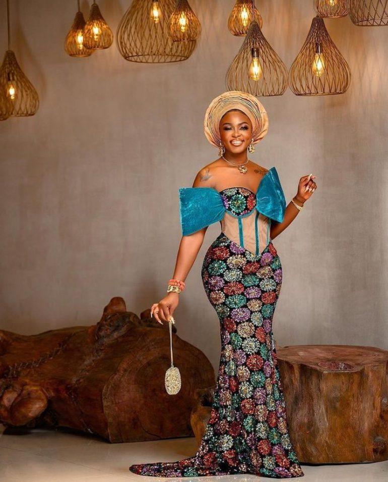 asoebi style off shoulder corset lace dress