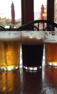 A flight of beer at Devils Backbone Brewing
