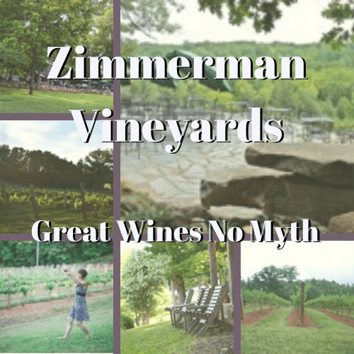 a collage of outside pictures of Zimmerman Vineyard with the Great Wines No Myth tag line superimposed.