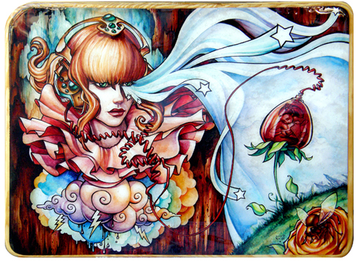 Symbiosis- Watercolor and ink on paper, resined onto wood.