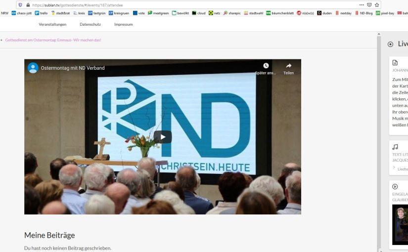 Interaktiver ND-Gottesdienst am Ostermontag