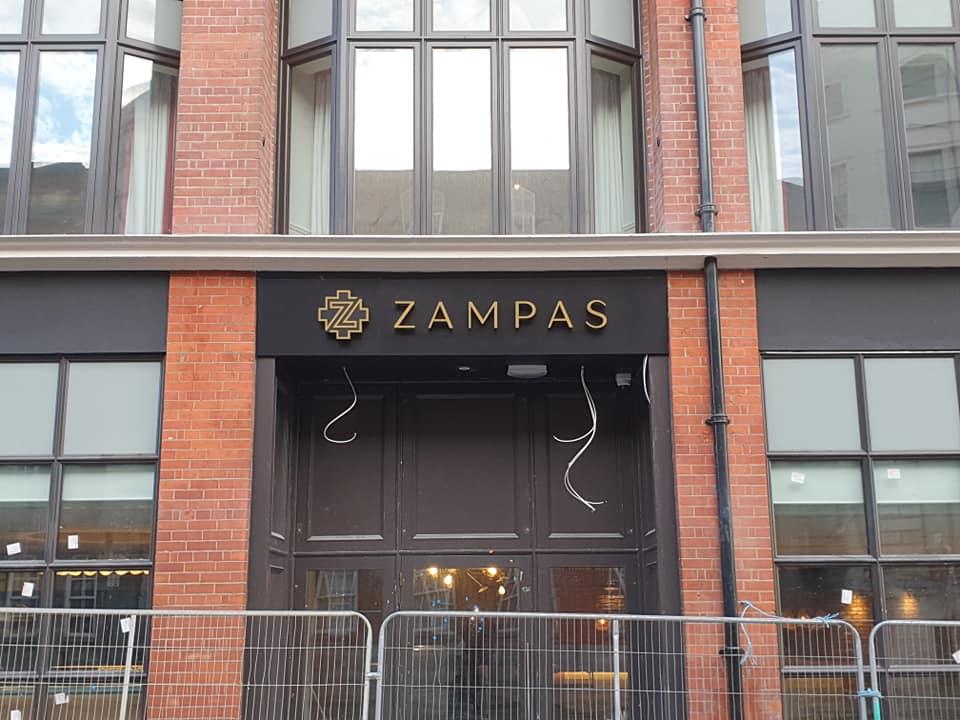 Zampas Restaurant, Dublin. Exterior door sign.