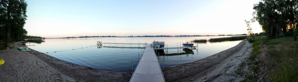 A panoramic view of Lake Isabel from the boat ramp at Camp Grassick