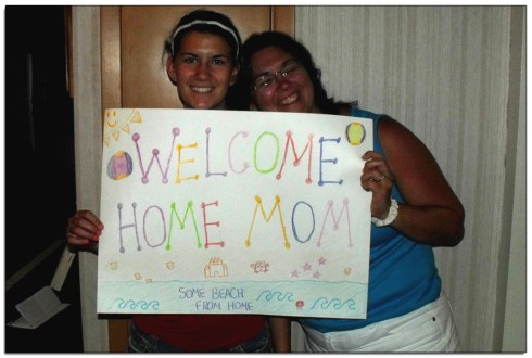 Welcome Home sign greeted me on my return from Connecticut