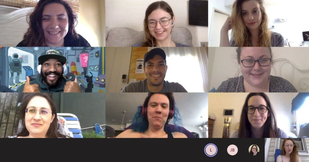The NDLSA team is meeting online. There are 10 people in different frames. All are smiling at their cameras.