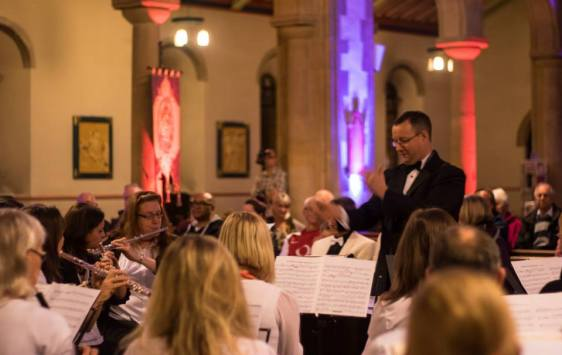 Nick conducting massed Thanet Music Centre wind band of past & present members at Keith Woodger Memorial Concert - 12/10/2014