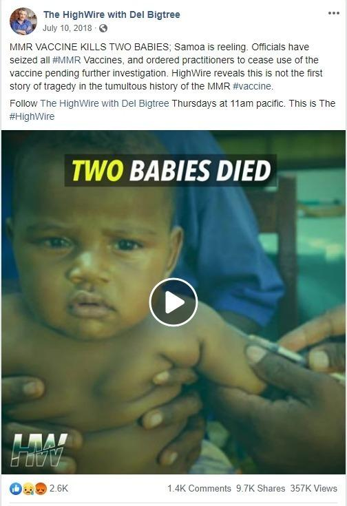 Anti-vaccine posting with misinformation about the the death of two babies in Samoa in 2018.