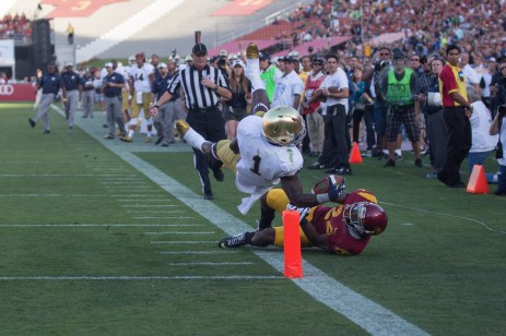 Irish senior running back Greg Bryant attempts to score a touchdown during Saturday's loss to USC. Kevin Song   The Observer.
