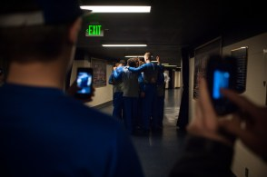 Duke men's basketball team huddles in the concourse of the Purcell Pavilion before Wednesday's game. Michael Yu | The Observer