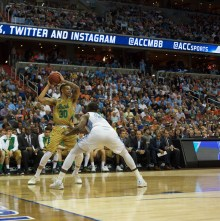 Irish senior forward Zach Auguste looks to pass during Notre Dame's 78-47 loss against North Carolina in the ACC tournament March 11 in Washington.