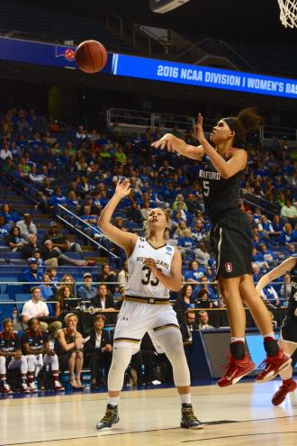 Irish sophomore forward Kathryn Westbeld has her shot blocked during Notre Dame's 90-84 loss to Stanford in the third round of the NCAA tournament Friday night.