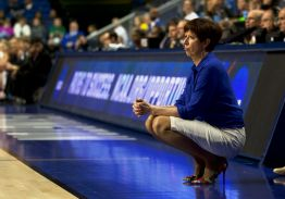 Irish head coach Muffet McGraw surveys the court during Notre Dame's 90-84 loss to Stanford in the NCAA tournament Friday night in Lexington, Kentucky.