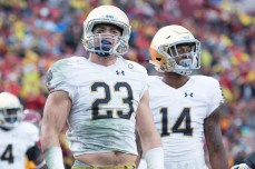 Junior safety Drue Tranquill reacts to a pass interference call in the fourth quarter of Notre Dame's loss to USC.