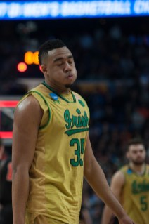 Irish junior forward Bonzie Colson reacts during Thursday's 60-58 first-round win over Princeton in Buffalo, New York.