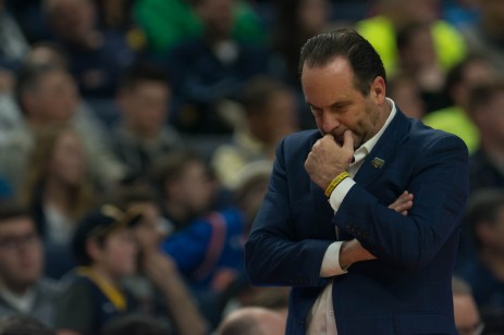 Head coach Mike Brey pace along the court during Saturday's 81-73 second-round loss to West Virginia in Buffalo, New York.