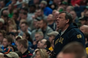 New Jersey Gov. Chris Christie yells at an official during Saturday's 81-73 second-round loss to West Virginia in Buffalo, New York.