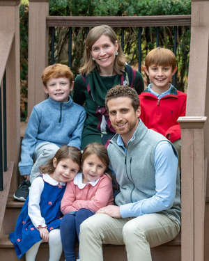 Kati and Mike Macaluso, faculty in the Alliance for Catholic Education, with their children Michael 7, top left, Matthew, 10, top right, Lucy, 3, bottom left, and Grace, 5, bottom center. Michael and Matthew participate in TutorND. (Photos by Matt Cashore/University of Notre Dame)