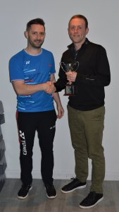 League Chair, Steven Chappell presenting the Mixed Division 1 trophy to Nicol Webster from Westhill