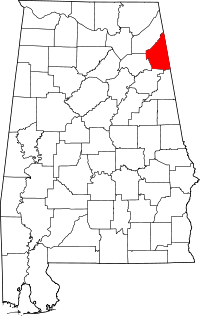 Map of Alabama highlighting Cherokee County.