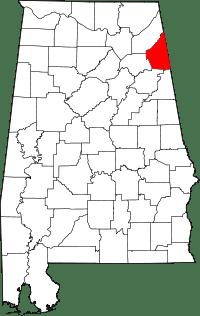Map of Alabama highlighting Cherokee County.