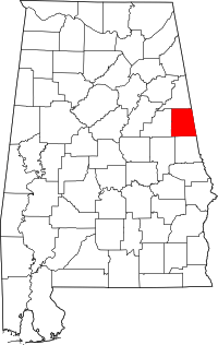 Map of Alabama highlighting Randolph County.