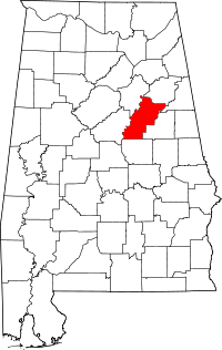 Map of Alabama highlighting Talladega County