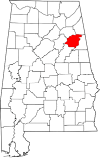 Map of Alabama highlighting Calhoun County.