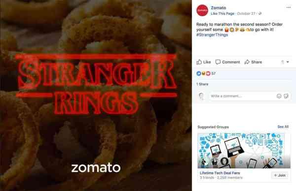 zomato social media content categories post