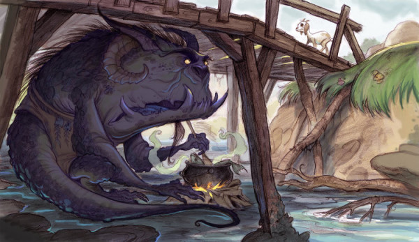 There Leftwingnut Trolls: painiting of a troll beneath a bridge by Mark Page.