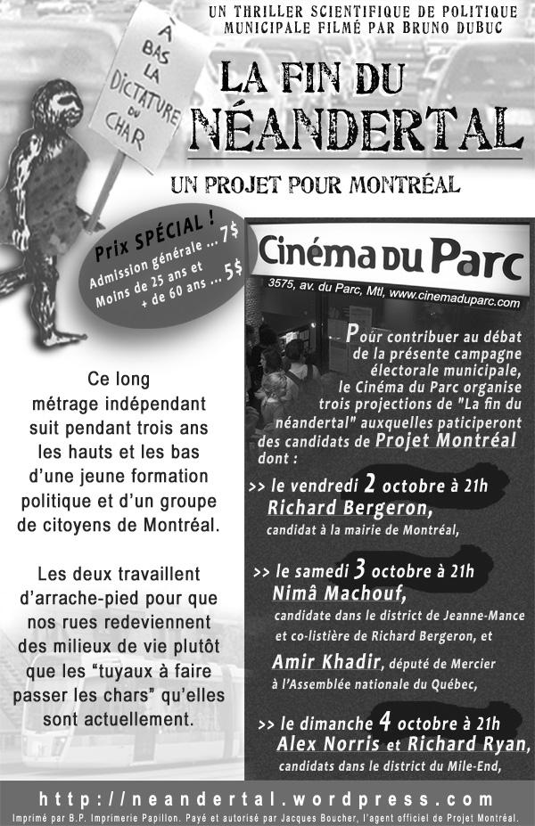 flyer La fin du néandertal 2-3-4 oct cinéma du Parc