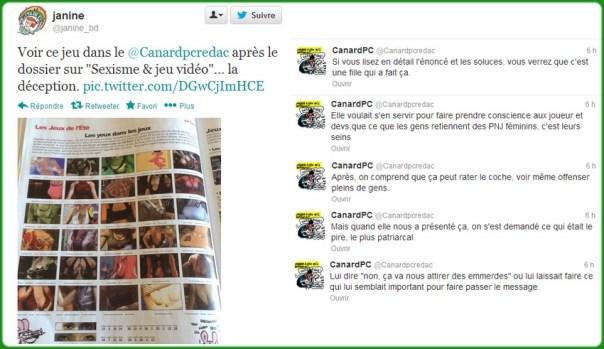 Le tweet qui a commencé / la réponse de Canard PC. Le twitter officiel de Canard PC a retweeté quelques tweets témoins du chauffage d'esprit qui en a découlé.