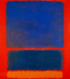 Blue, orange and red,