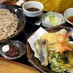 Delicious tempura soba with local spring ingredients at Yamani restaurant in Mashiko