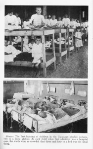 Boys in an orphanage sitting on their beds. The first housing in the Caucasus. Children have to share beds, many were displaced and there were not enough beds for everyone.