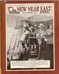 New Near East magazine cover featuring H.C. Moffat and orphanage boys on a ship bound for rural Greece, where the boys will become farm workers