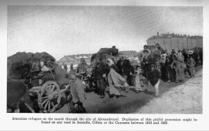 Armenian refugees on the road to another refugee place. Families walking together, looking for a new shelter.